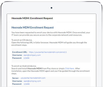 Email based enrollment