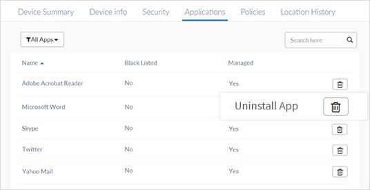 Remote app uninstall