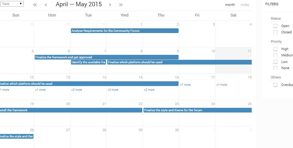 project duedate calendar