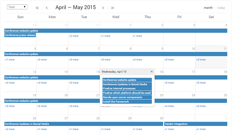 project organize work calendar